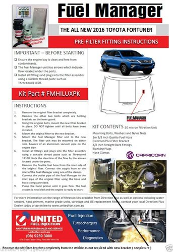 TOYOTA FORTUNER 2.8L D4D 2016 FUEL MANAGER KIT. PRE-FILTER.